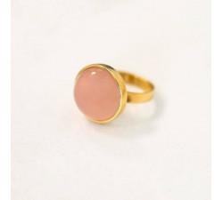 Pierścionek z różowym agatem