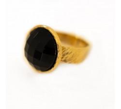 Pierścionek obrączka z czarnym onyksem