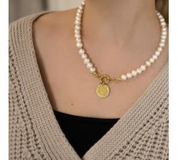 Naszyjnik nieregularne perły z monetą