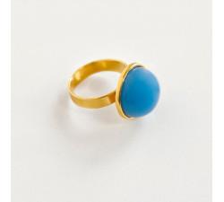 Pierścionek z niebieskim agatem na prezent