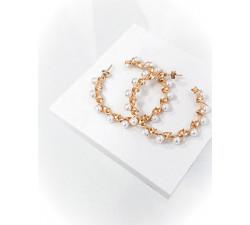 Kolczyki duże ręcznie plecione koła z perłami
