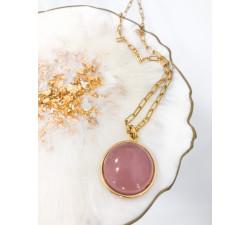 Łańcuszek z zawieszką różowy agat