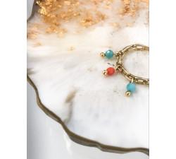 Pierścionek przeplatany, łańcuch z zawieszkami - korale