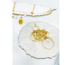Kolczyki podwójne koła z perełkami, minimalistyczny design