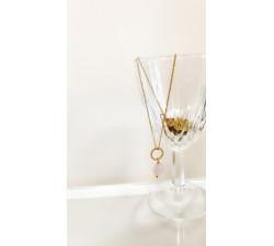 Łańcuszek z różowym kwarcem, naszyjnik symbol wdzięczności prezent