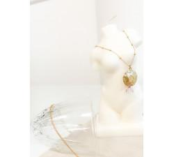 Biżuteria z symbolami - wdzięczność, łańcuszek kulkowy kwarc różowy