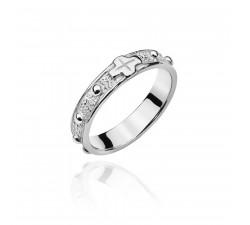 Srebrny pierścionek - różaniec