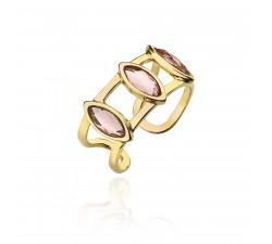 Złoty sygnet z kryształami Swarovskiego