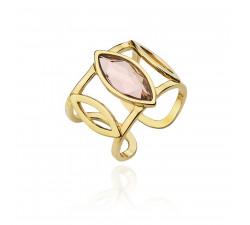 Złoty sygnet z kryształem Swarovskiego
