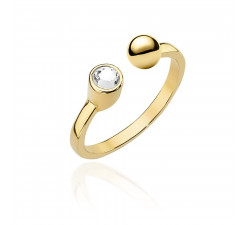 Złoty pierścionek z kulką i cyrkonią