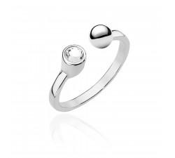Srebrny pierścionek z kulką i cyrkonią
