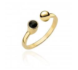 Złoty pierścionek z kulką i czarną cyrkonią