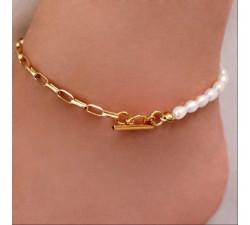 Bransoletka na stopę Chain Pearl