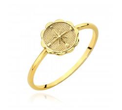 Subtelny pierścionek z symbolem róży wiatrów