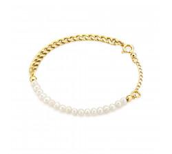 Pozłacana bransoletka pancerka z naturalnymi perłami